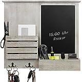 Wandorganizer 46,5x52,5x6cm mit Tafel, Ablagen und Metallhaken, Wandablage Wandboard für Büro...