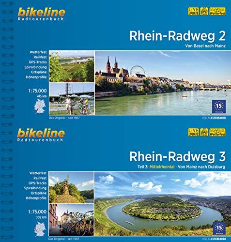 Bikeline Radtourenbuch Rhein-Radweg (Band 2+3) von Basel über Mainz nach Duisburg im Geschenkset