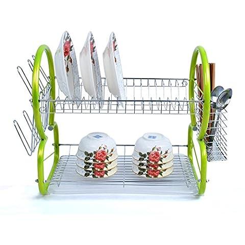 Plat à double étages égouttement–kingwo Égouttoir à vaisselle professionnel rouge grand support Égouttoir à vaisselle et couverts rack-2étages, Green, 52*24*38.5cm