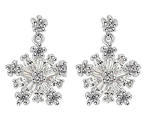 KnSam Damen Platin Plattiert Durchbohrte Ohrringe Schneeflocke Crystal Strass Weiß [Neuheit Ohrringe]