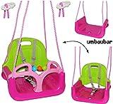 alles-meine.de GmbH mitwachsende - Babyschaukel / Gitterschaukel mit Gurt -  ROSA / PINK  - leichter Einstieg ! - mitwachsend & verstellbar - 100 kg belastbar - Kinderschaukel ab 1 Jahre - mit Rückenlehne & Seitenschutz - Schaukel für Kinder - Innen und Außen / Garten - für Baby´s - aus Kunststoff / Plastik - Kunststoffschaukel - Mitwachsschaukel bunt - Sicherheitsgurt - Gitterschaukel / verstellbare Kleinkindschaukel - Baby - Indoor Outdoor
