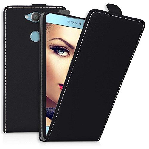 mtb more energy Flip-Case Tasche für Sony Xperia XA2 | XA2 Dual (5.2'') | Schwarz | Kunstleder | Schutz-Tasche Cover Hülle