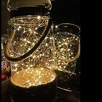 Cordon Tira luz led de 2 m y 20 leds para decoracion de interior de botellas, de mueble bar, de mesas, cristaleras, jarrones, arbol de Navidad, cenas, ...