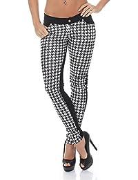 3887 Fashion4Young Damen Hautenge Treggings Leggings Hose pants Stretch-Stoff Damenhose 5 Größen
