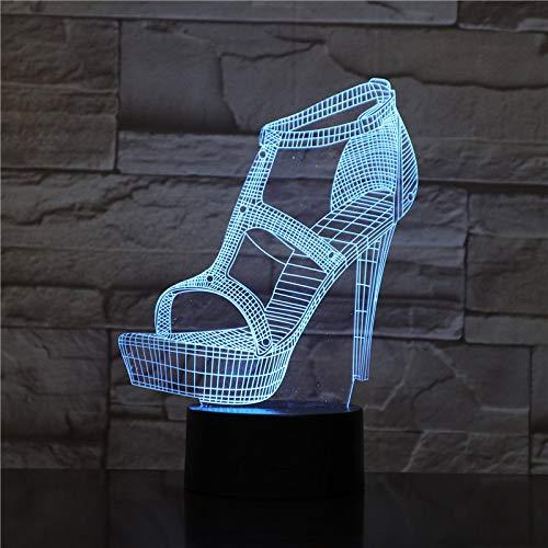 orangeww 3d Night Light / 3d Illusion Lamp/led 7 / for Living Bed Room Bar El mejor regalo/juguetes/iluminación del sueño/Usb/zapatos de tacones altos