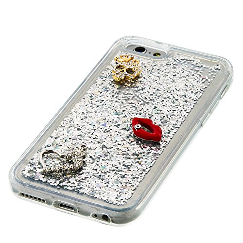 MOONCASE iPhone 6S Coque, Glitter Sparkle Bling [Lips] Faux Diamant Dessin Motif Liquide Étui Coque pour iPhone 6 / 6S (4.7 inch) Soft TPU Gel Souple Case Housse de Protection Argent 02 Argent 02