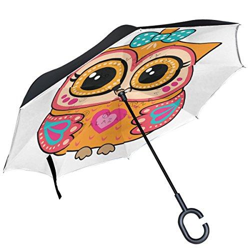 Alaza Cute Cartoon Orange Eule seitenverkehrt Double Layer winddicht Rückseite Regenschirm -