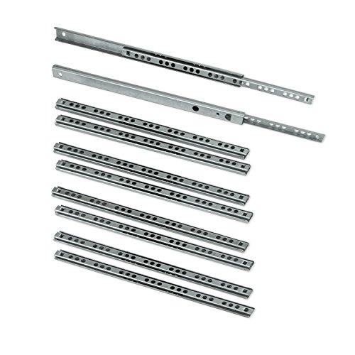 Emuca 3009705 - 5 Sets (10 Stück) Schubladenführungen, teilauszug mit Rollen 17mm x 246mm