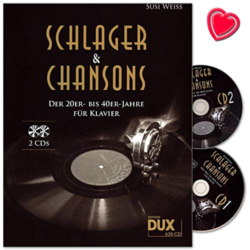Schlager and Chansons der 20er bis 40er Jahre - 40 Evergreens und Schlager, bearbeitet für Klavier (mit Text und Akkordbezifferung) - Notenbuch mit 2 CDs und bunter herzförmiger Notenklammer