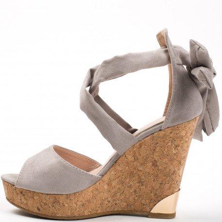 Ideal Shoes - Compensées peep toe effet daim Jahna Gris