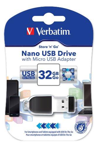 Verbatim nano chiavetta usb 32 gb, usb 2.0 con microusb, velocità lettura 10 mb/s, velocità scrittura 3 mb/s, nero