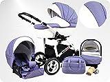 Lux4Kids BIANCinO Kinderwagen Komplettset (Autositz & Adapter, Regenschutz, Moskitonetz, Schwenkräder) 04 Eco Leather White & Lavender