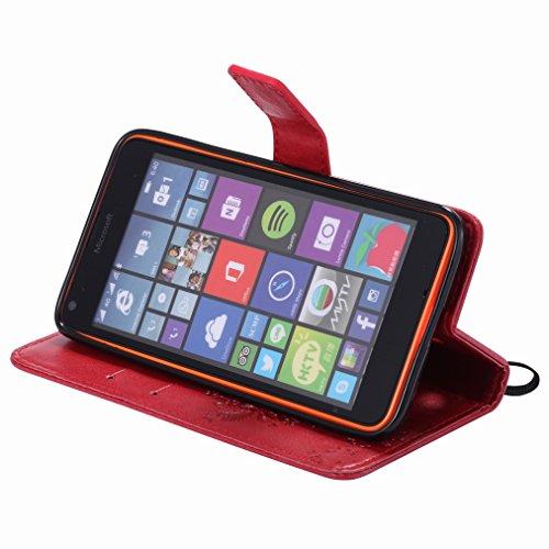 Custodia Microsoft Lumia 640 LTE Cover Case, Ougger Fortunato Foglia Stampa Portafoglio PU Pelle Magnetico Stand Morbido Silicone Flip Bumper Protettivo Gomma Shell Borsa Custodie con Slot per Schede  Rosso
