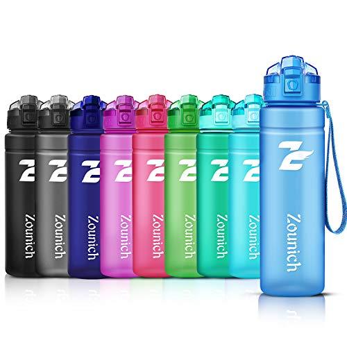 ZOUNICH Trinkflasche Sport 1.2L/1L/700ml/500ml BPA frei öko tritan Kunststoff Wasserflasche 1liter Sportflaschen Auslaufsichere für Kinder, Fahrrad,Gym,Schule,Flip Top,öffnet Sich mit 1-Click, Infuser -