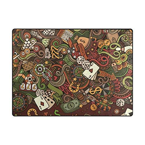 DEZIRO Casino Dollar Poker Craps Fußmatte Outdoor Teppich Fußmatten Anti-Rutsch Schuhe Schaber Home Dec, Polyester, 1, 63 x 48 inch (80-dollar-schuhe)