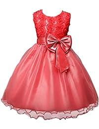 LSERVER-Vestidos de Rosa Princesa con Las flores de La Boda Para Las Niñas