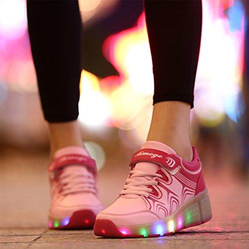 M盲dchen mit Sport Schuhe Leuchtend 2 Skateboard Blinkschuhe Turnschuhe Rollen R盲dern Jungen Led Rosa Outdoor Sneaker Kinderschuhe Licht Wheelies Rn6Bwq5xU5