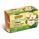 Danival - DANIVAL - Purée pomme & poire 100% fruit bio sans sucres ajoutés 4 x 110 g - Compote fabriquée en France