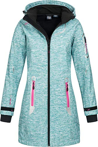 Geographical Norway Damen Softshell Kurzmantel Timael Kapuze Meliert Turquoise XL -