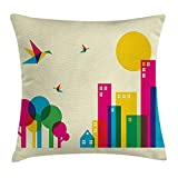 Colorful Throw Pillow Cushion Cover, Abstract Art Style Flying Origami Hummingbirds Colorful Buildings and Trees Print, Decorative Square Accent Pillow Case, 18 X 18 Inches, Multicolor