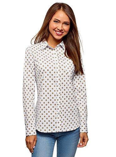 oodji Ultra Donna Camicia Basic in Cotone, Bianco, IT 40 / EU 36 / XS