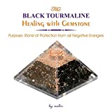 Aatm Energy Generator Black Tourmaline Orgone Pyramid for EMF Protection Chakra Healing Meditation with Crystal and Copper (3 and 3 inches)