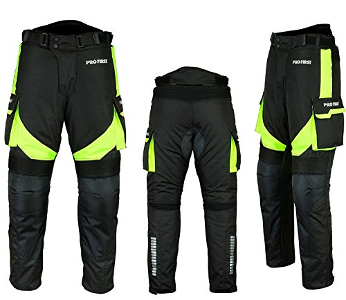 (FREE BALACLAVA) Waterproof Motorbike Gears Motorcycle 2 Suit Jacket & Trouser – Cordura Fabric – CE Armour – 6 Packs Design Most Popular – Black & Green – 3X-Large / 46 Inch Chest