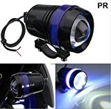 PR U3 Headlight Fog Lamp with lens Cree Led with Blue Angel Eye Ring Light (Black, 1Pc) High Beam,Low Beam,Flashing Modes LED Motorycle Fog Light Bike Projector Auxillary Spot Beam Light with and For Yamaha Fascino