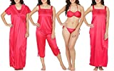 #8: Nightwear Combo 6pc [Bikini set (thong), designer front laced babydoll spaghetti with lower, Long Gown with Long Robe] for Woman in Satin (Cherry red) Forever Stylish by Trendy Thread …