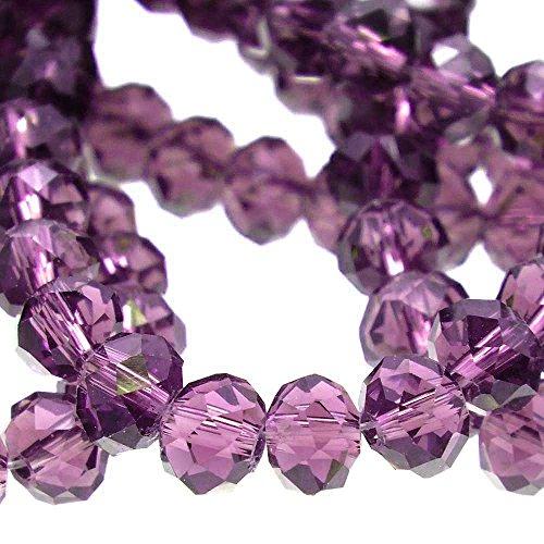 4x 6mm Rondelle Sfaccettato Perline Di Vetro di cristallo, ametista, (Perline Di Cristallo Di Sfaccettatura)