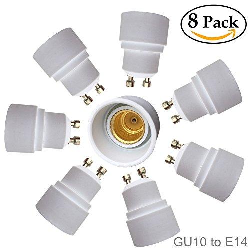 Eleidgs 8 PCS GU10 vers E14 Adaptateur de Douille , Ampoule LED Base Douille GU10 à E14 Lamp Holder Converter