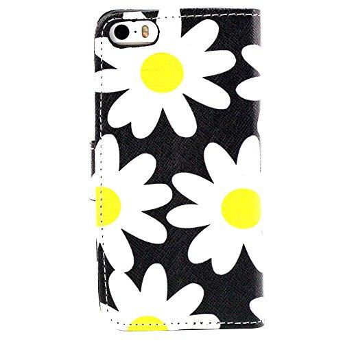 EUDTH iPhone SE Coque Peinture Style Housse Flip Cover Portefeuille Etui en Cuir de Protection Case vec B¨¦quille pour iPhone 5 / 5S / iPhone SE -YH06 YH19