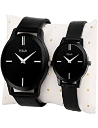 Mikado Analogue Black Dial Women's & Men's Couple Watch- Unite V1