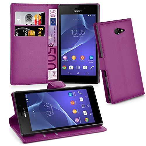 Cadorabo Hülle für Sony Xperia M2 - Hülle in MANGAN VIOLETT – Handyhülle mit Kartenfach und Standfunktion - Case Cover Schutzhülle Etui Tasche Book Klapp Style