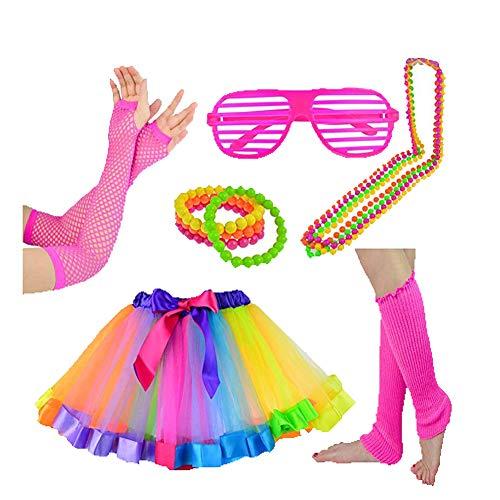 1980s Jahre Neon Kostüm Kleid Zubehör Sets 80er Damen Mädchen Night Out Fancy Party Dress Tutu Mehrfarbig