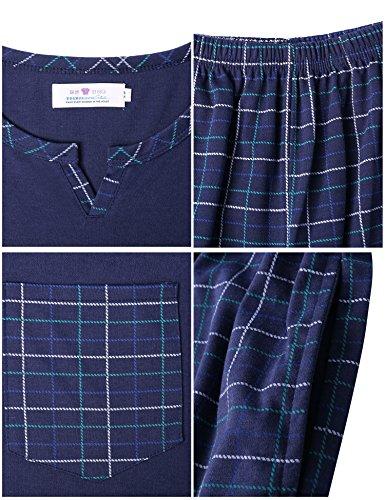 Aibrou Herren Schlafanzug Pyjama Baumwolle Lang Zweiteilig Nachtwäsche Set Langarm Rundhals/V Ausschnitt Blau/Grau Dunkelblau
