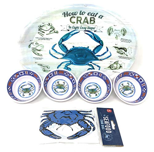 Coastal Living Seascapes How to Eat a Crab Ovale Essteller, Butterdose, Lätzchen, 12-teiliges Set -