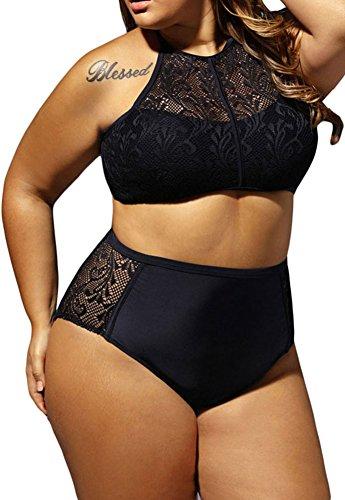 EmilyLe Damen Neckholder Mesh Spitze Bikini Set 2 Stück Plus Size Badeanzug Push Up High Waisted Bademode Schwarz