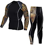 1Bests Hommes 2 Pièces Camouflage Fitness Sportswear Running Training Collants Speed Drying Coat Set (Yellow, L)...