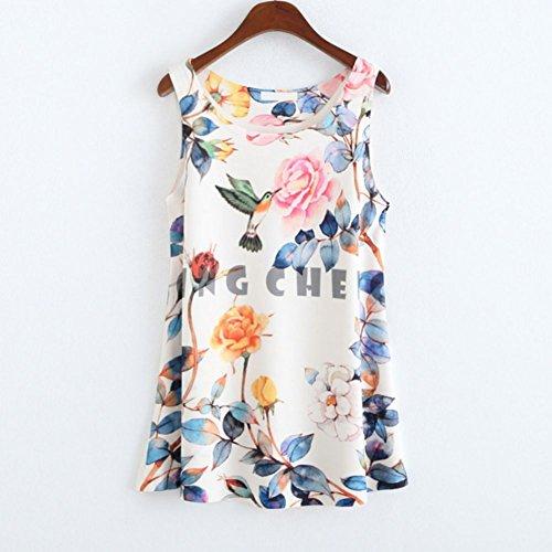 Etosell Femmes Sans Manches T-Shirts Imprimes Animaux Floral Chemisier Gilet 20 Couleurs A09