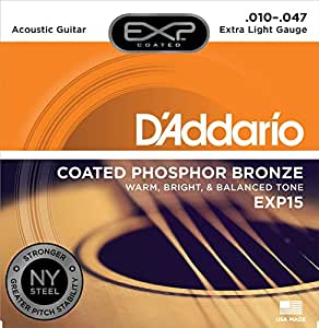 D'Addario EXP15 EXP Coated Phosphor Bronze Extra Light  (.010-.047) Acoustic Guitar Strings