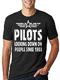 Silk Road Tees Avión Vuelo Piloto Camiseta Fresca de los Hombres Regalo para el piloto de la Camiseta Small Negro