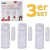 Eurosell 3 Stück Fenster / Tür Alarm Sensor + Sirene - Einbruch Diebstahl Schutz ! Türalarm / Fenste…