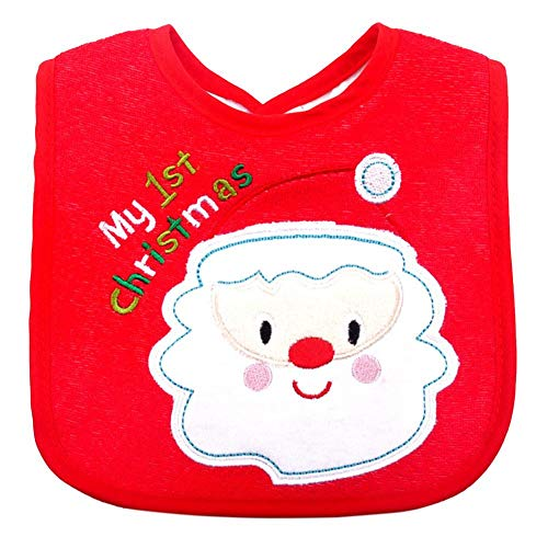 Niulyled Weihnachten Baby Lätzchen - bestickte Muster Speichel Handtuch, Neugeborenes Baby wasserdichte Lätzchen, perfekte Baby-Dusche, Geburtstag oder Weihnachtsgeschenk.