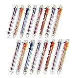Bolígrafos de Bola Retráctiles,Bolígrafos de Multicolor 16 Piezas 6-en-1 Poste Transparente para Materiales de Oficina Escuela Regalo de Estudiantes Niños
