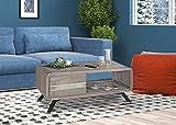 Couchtisch aus Massivholz Akazie im Smoked Grey mit Schublade; Wohnzimmertisch, Holztisch bzw. Kaffeetisch; Maße (B/T/H) in cm: 110 x 60 x 45