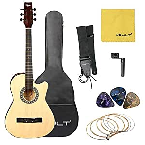 Henrix 38C 38 inch Cutaway Acoustic Guitar with Dual Action Truss Rod and Die-Cast Tuners. Includes - 3 Picks, Gig Bag, Strings, Polishing Cloth, Strap and String Winder