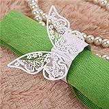 50 Stück Serviettenringe Hochzeitsfeier Tischdekoration Papierservietten Papier Stoffservietten Ring Schmetterling Weiß - 3