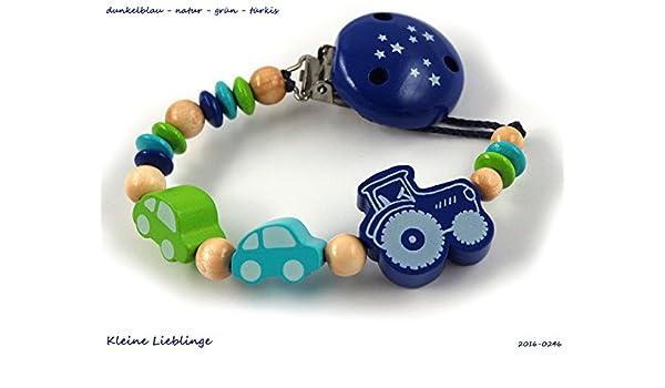 Schnullerkette ohne Namen f/ür Jungen Sternenclip Auto Sterne grau hellblau wei/ß