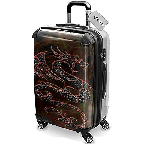 Collezione 134, Custom Ultraleggero 4 Route Wheel Spinner Luggage Valigia Bagaglio a Mano Trolley Rigido Hand Case Shell Cover Trolley Travel Bag - Collezione Tribal
